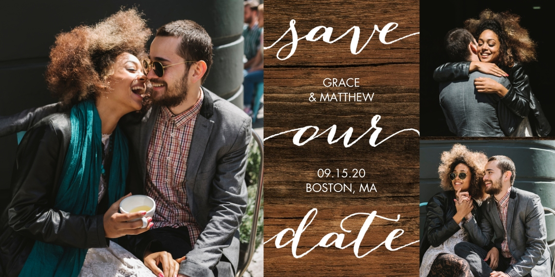 Save the Date Flat Matte Photo Paper Cards with Envelopes, 4x8, Card & Stationery -Save the Date Simple Script