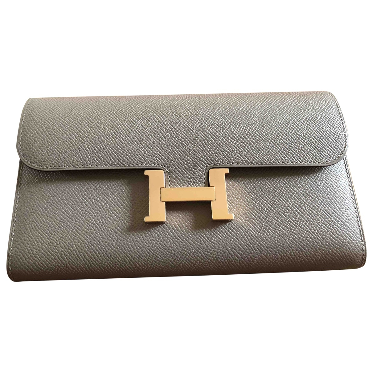 Hermes Constance Portemonnaie in  Grau / Taupe Leder