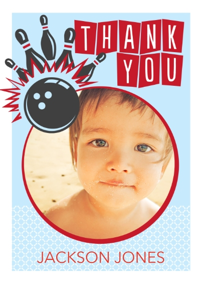 Kids Thank You Cards 5x7 Folded Cards, Premium Cardstock 120lb, Card & Stationery -Let's Bowl Thank You