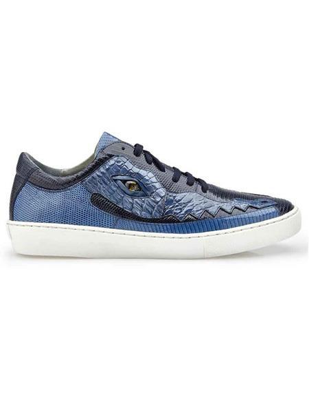Mens Lace Up Jean Crocodile Navy ~ Blue Shoe