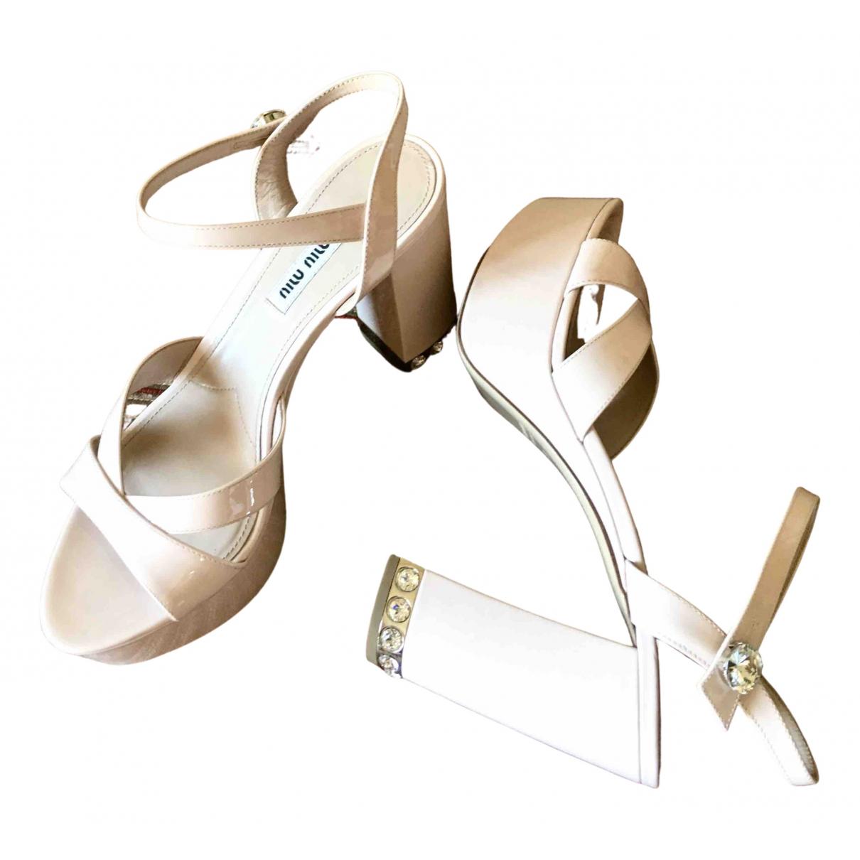 Miu Miu \N Pink Patent leather Sandals for Women 38 EU