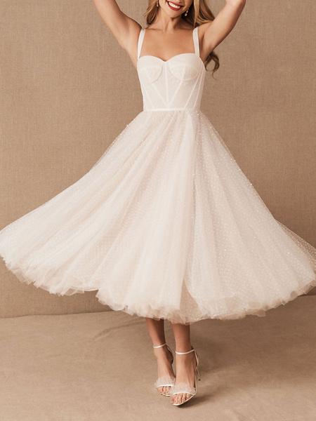 Milanoo Vestido corto de novia blanco T-Length A-line Sweetheart Pearls Correas espaguetis Vestido largo hasta el te