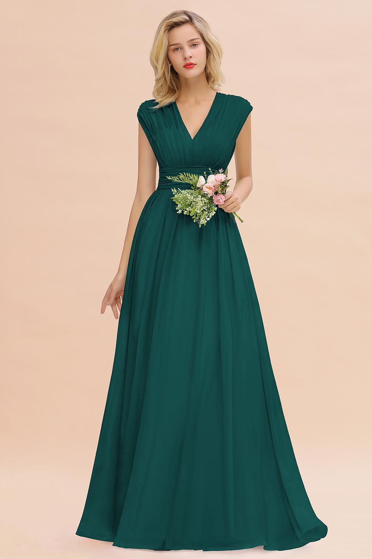 BMbridal Elegant Chiffon V-Neck Ruffle Long Bridesmaid Dresses Affordable