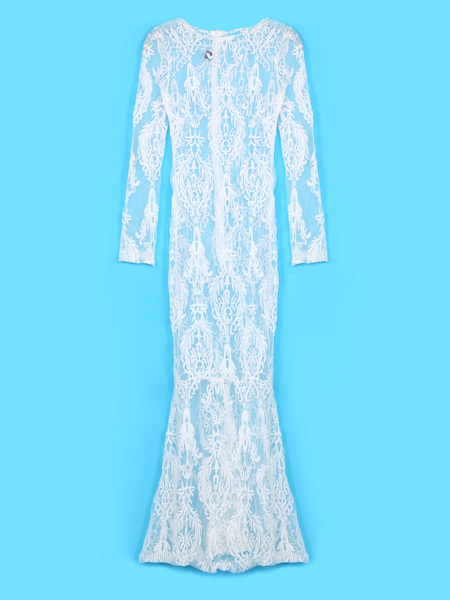 Yoins Long Sleeves Lace Maxi Dress in White