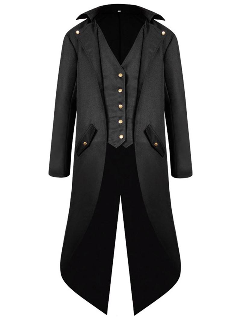 Ericdress Plain Long Button Fall Slim Coat