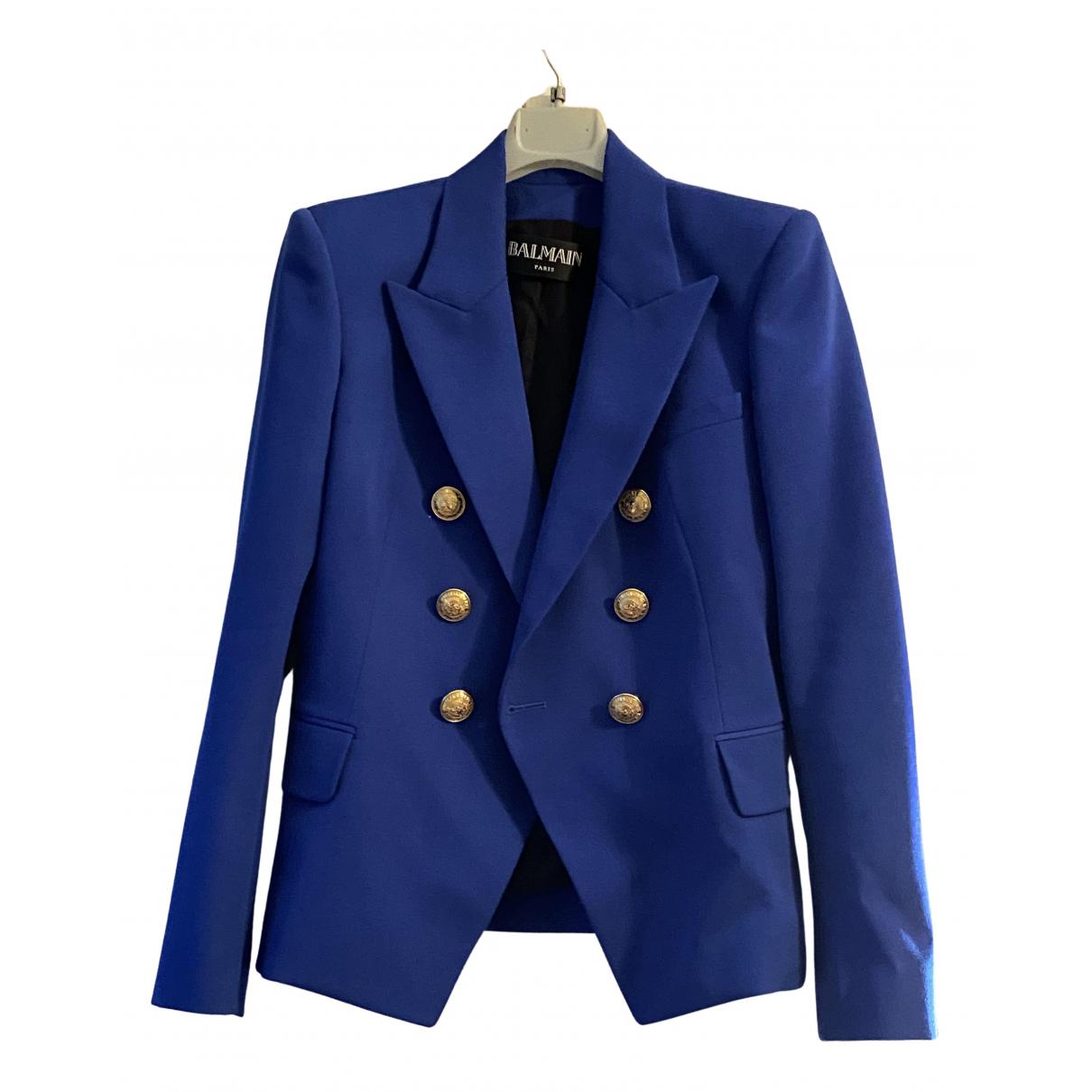 Balmain - Veste   pour femme en laine - bleu