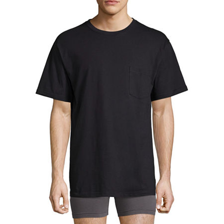 Stafford Performance Blended Cotton Heavyweight Crew Pocket Comfort Tee with Wicking, Xx-large , Black