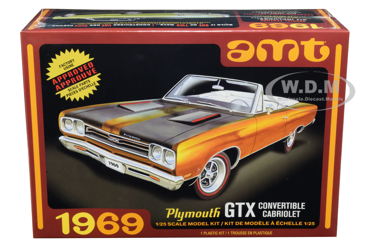 Skill 2 Model Kit 1969 Plymouth GTX Convertible 1/25 Scale Model by AMT
