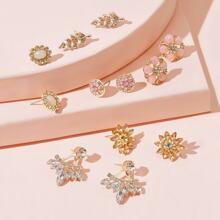 Edelsteindekor Blume & Blatt Ohrringe 6 Paare