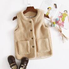Toddler Girls Single Breasted Pocket Patched Teddy Vest
