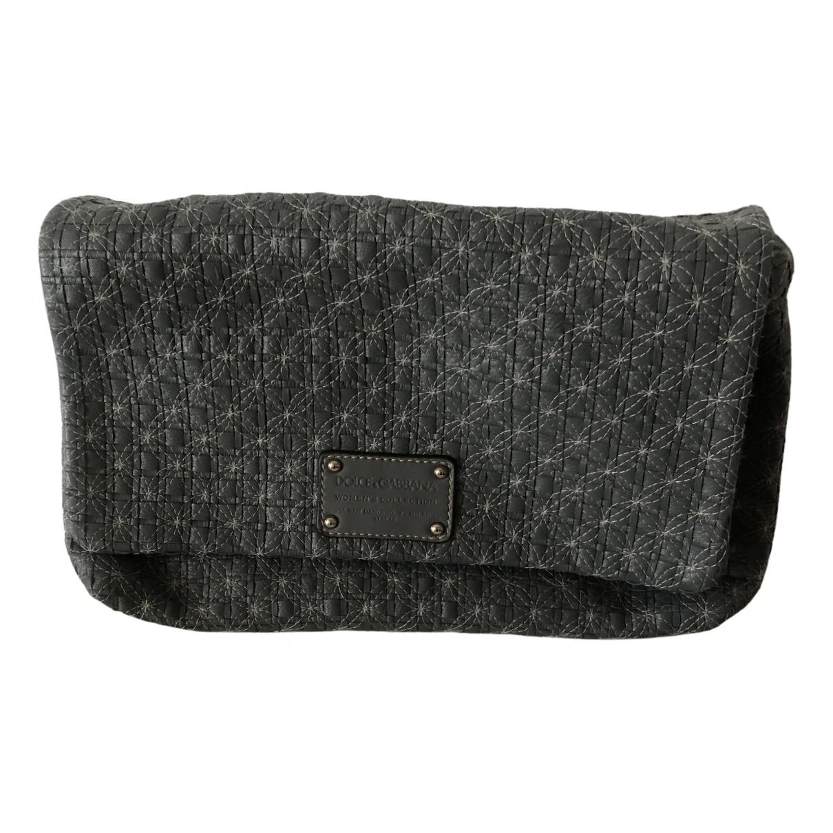Dolce & Gabbana \N Clutch in  Grau Leder