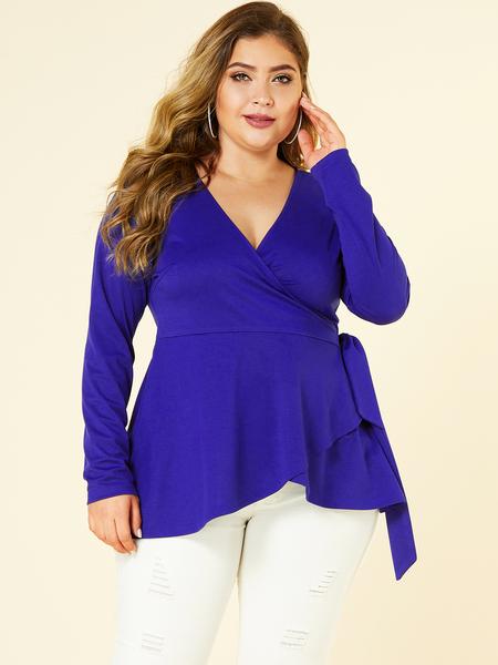 YOINS Plus Size Blue With Belt V-neck Long Sleeves Blouse