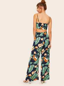 Tropical Leaf Cami Top & M-Slit Pants Set