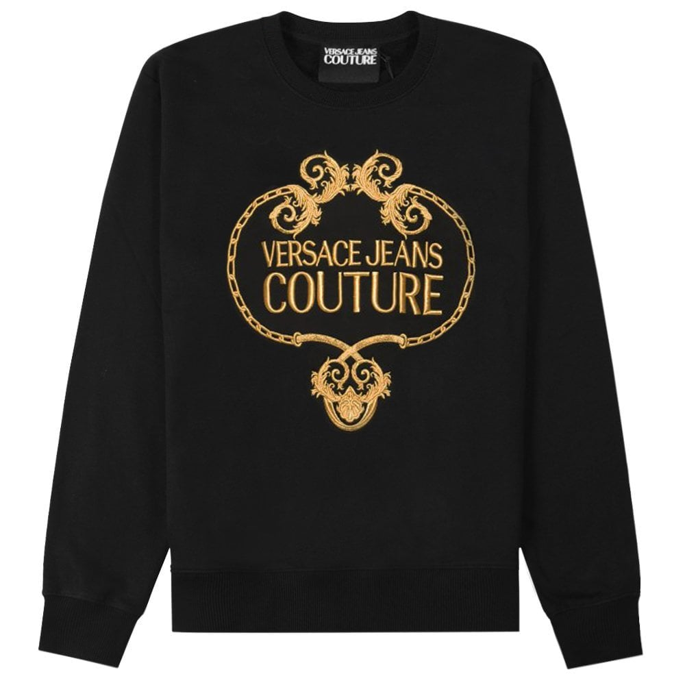 Versace Jeans Couture Gold Embroidered Wreath Logo Sweatshirt Colour: BLACK, Size: LARGE