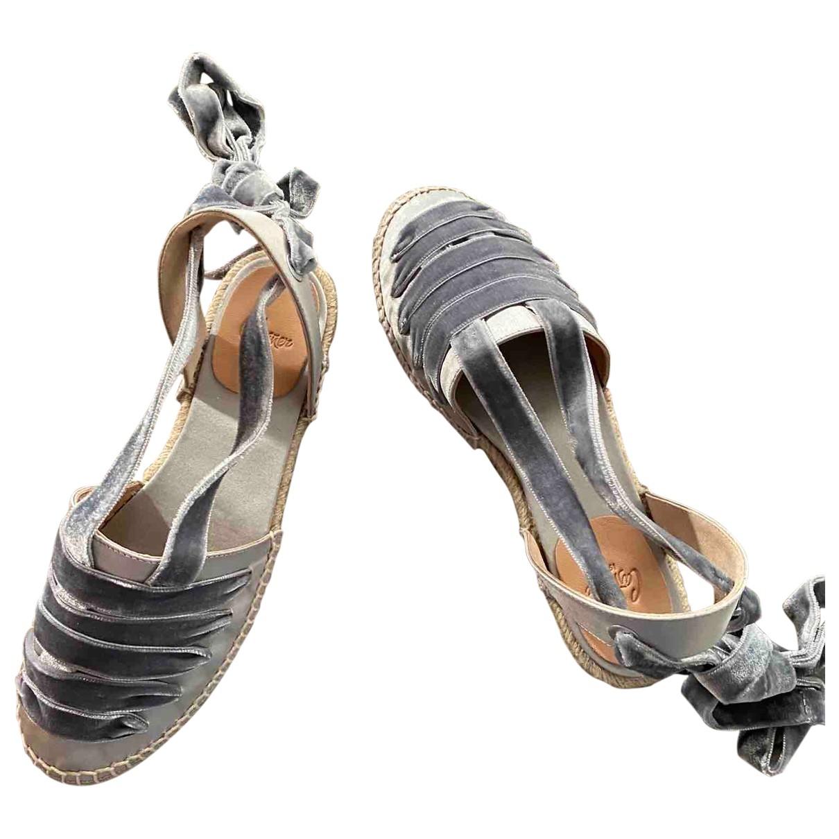 Castaner - Espadrilles   pour femme en velours - gris