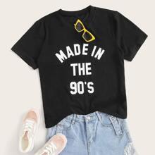 Ubergrosses T-Shirt mit Buchstaben Grafik und kurzen Ärmeln