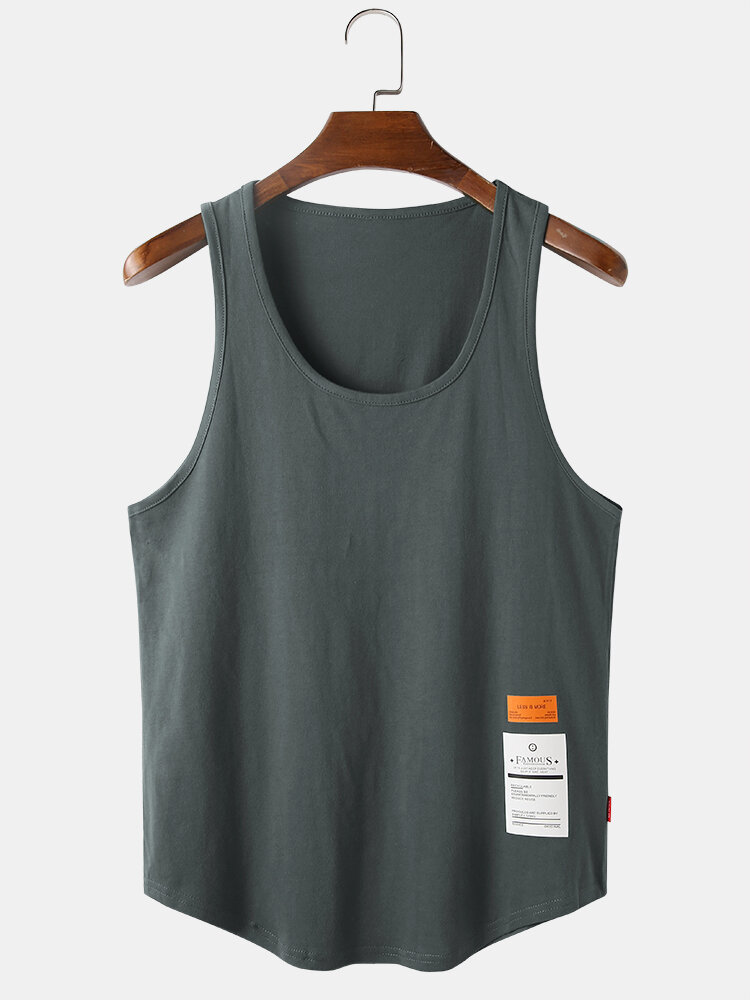 Mens Cotton Solid Color Light Casual Sleeveless Tank Tops