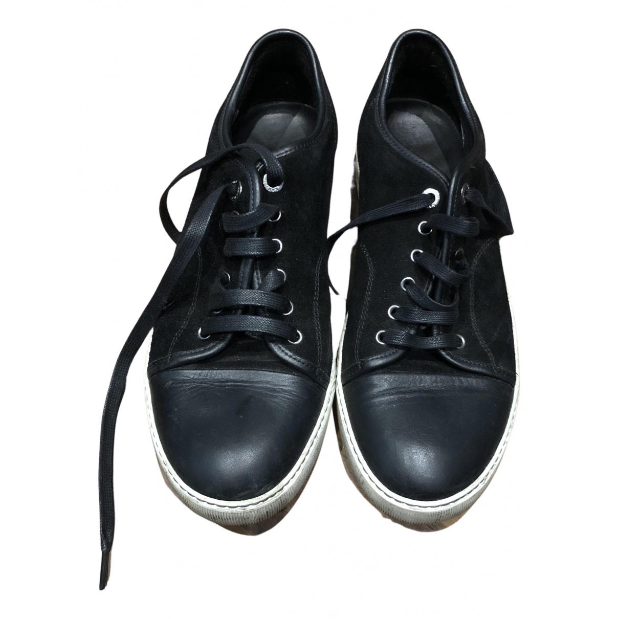 Lanvin - Baskets   pour homme en suede - noir