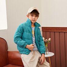 Cord Jacke mit Taschen Flicken und Reissverschluss