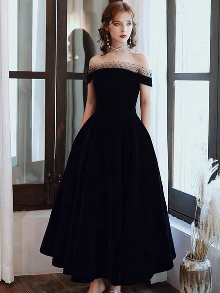 Milanoo Prom Dress Off The Shoulder A Line Short Sleeves Tea Length Lace Party Dresses