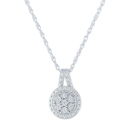 LIMITED TIME SPECIAL! 1/10 CT. T.W. Genuine Diamond Pendant Necklace in Sterling Silver, One Size , No Color Family