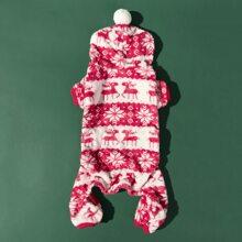 Christmas Deer Print Dog Jumpsuit