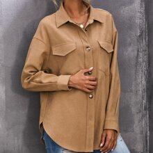Button Front Patch Pocket Coat