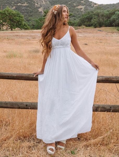 Milanoo Vestido largo blanco  Moda Mujer sin mangas de algodon mezclado Vestidos de encaje Color liso muy escotado por detras con cuello en V Atractiv