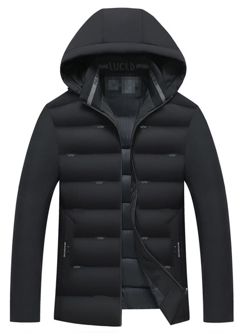 Ericdress Plain Hooded Standard Casual Zipper Mens Down Jacket