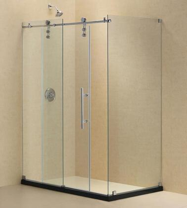 SHEN-6234600-07 Enigma-Z 34 1/2 In. D X 60 3/8 In. W X 76 In. H Fully Frameless Sliding Shower Enclosure In Brushed Stainless