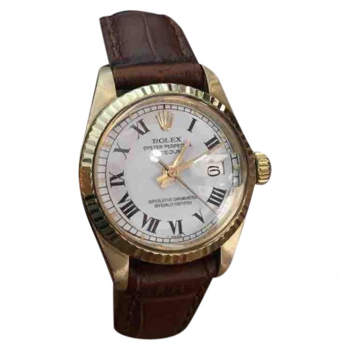 Rolex Lady DateJust 26mm Uhr in  Weiss Gelbgold