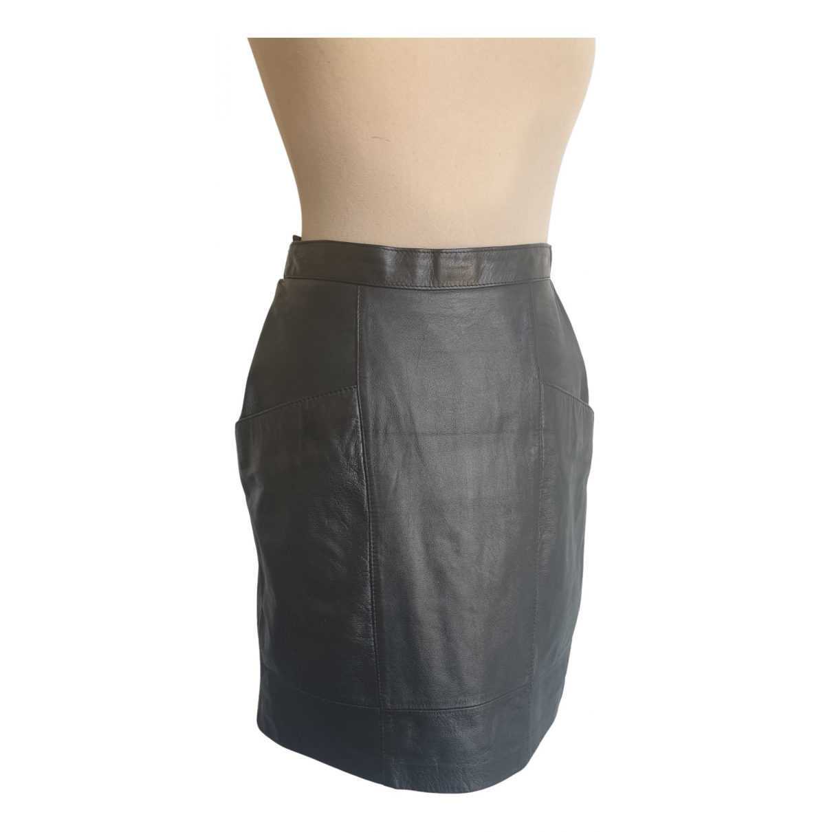 Non Signé / Unsigned N Black Leather skirt for Women 8 UK