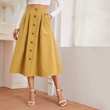 Button Front Pocket Patched Flared Skirt