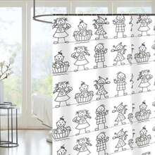 Cartoon Graphic Shower Curtain With 12hooks