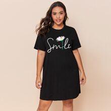 T-Shirt Kleid mit Blumen und Buchstaben Grafik