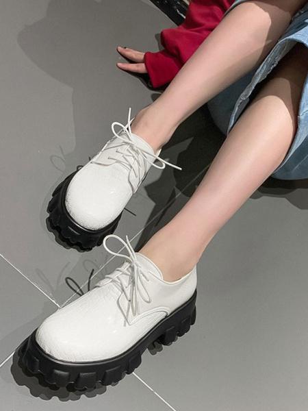 Milanoo Zapatos casuales con cordones de cuero de PU con punta redonda y plataforma plana rojos para mujer