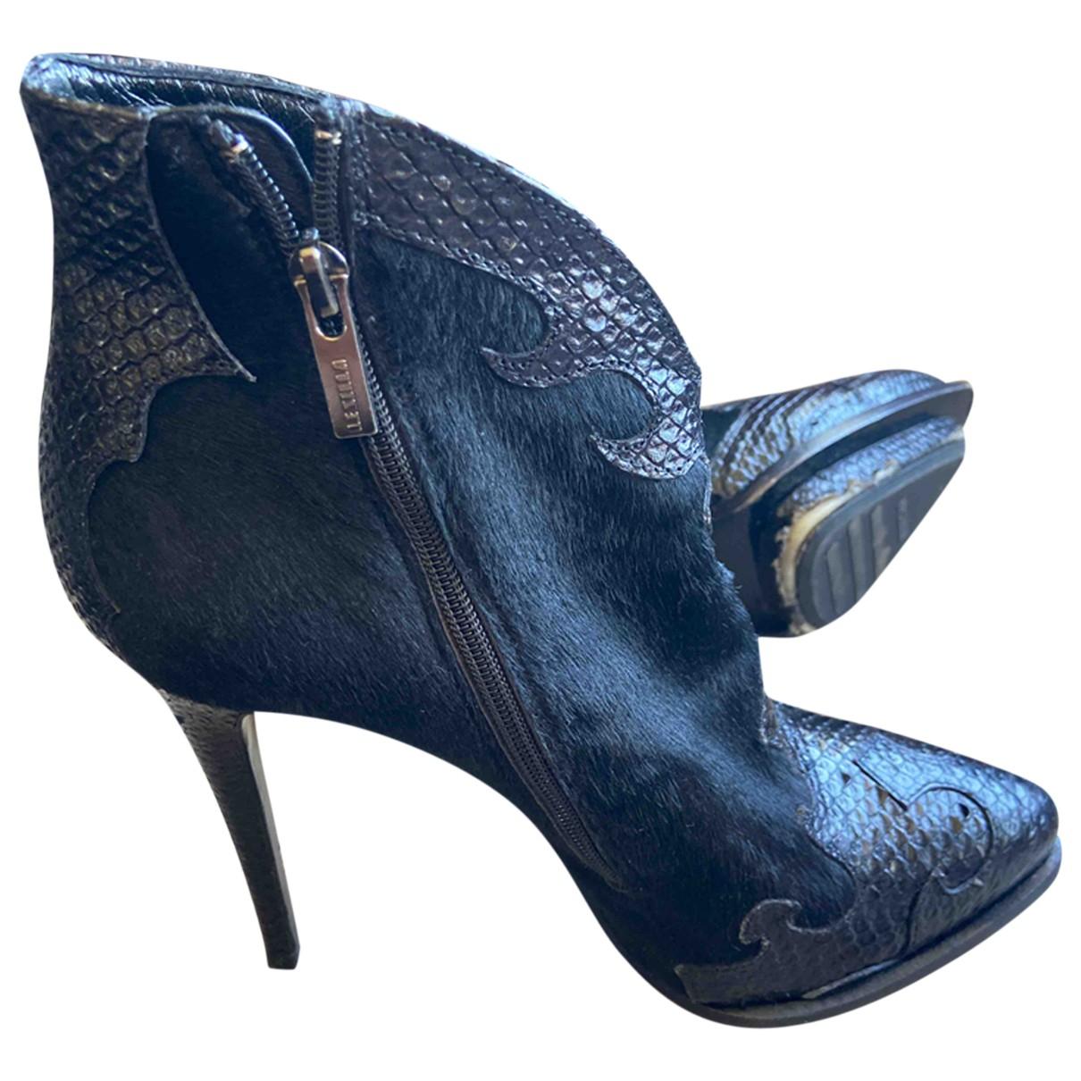 Le Silla - Bottes   pour femme en veau facon poulain - noir