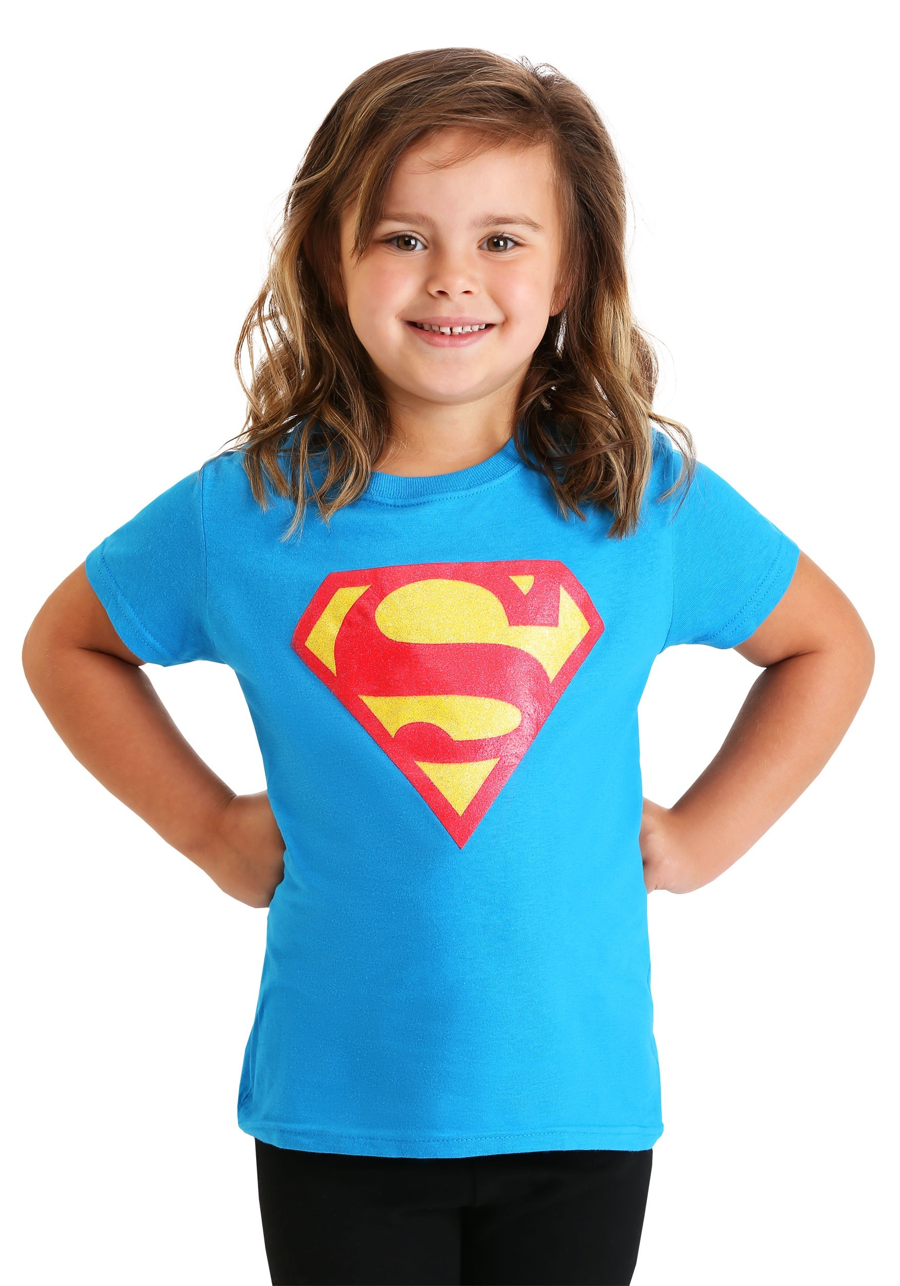 Glitter Superman Logo Girl's T-Shirt