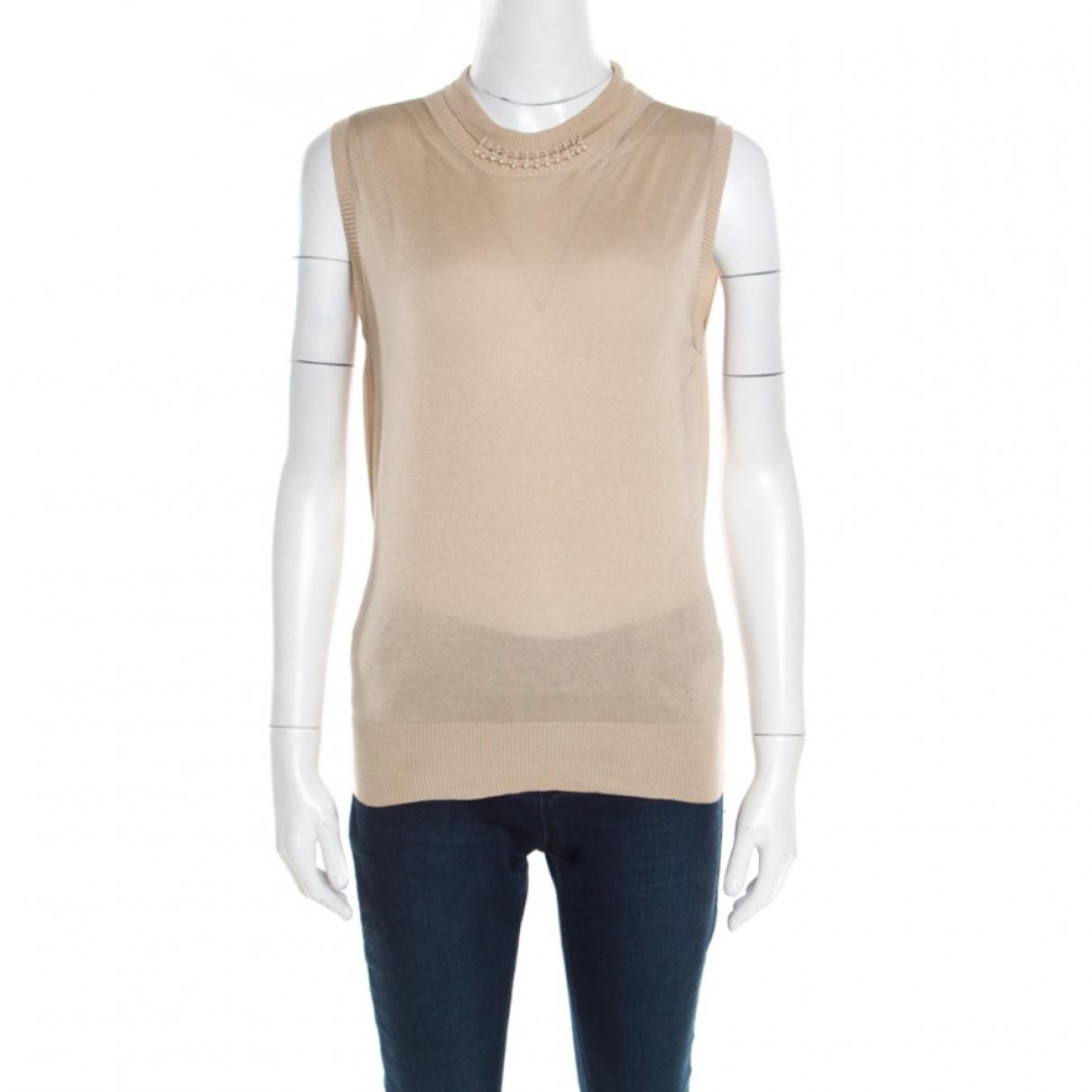 Christian Dior - Top   pour femme en soie - beige