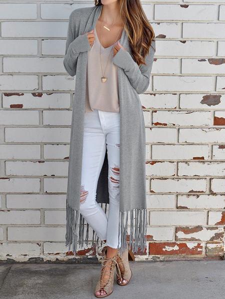 Yoins Grey Tassel Details Long Sleeves Cardigan