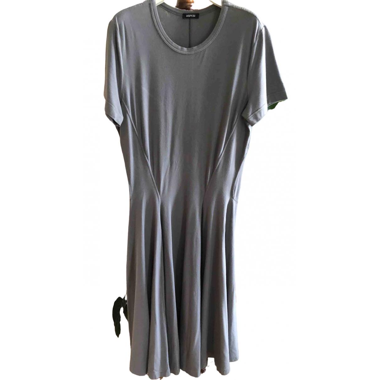 Aspesi - Robe   pour femme en coton - elasthane - gris