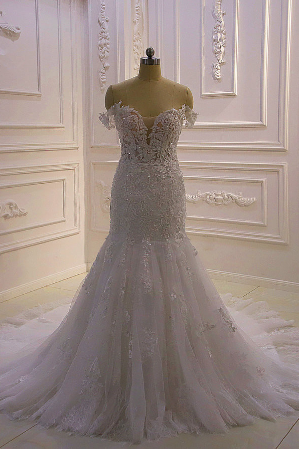 BMbridal Gorgeous Mermaid Tulle Lace Wedding Dress Off-the-Shoulder Appliques Bridal Gowns with Sequins Online