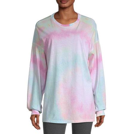 Flirtitude Juniors Womens Round Neck Long Sleeve Tie-dye T-Shirt, Small , White