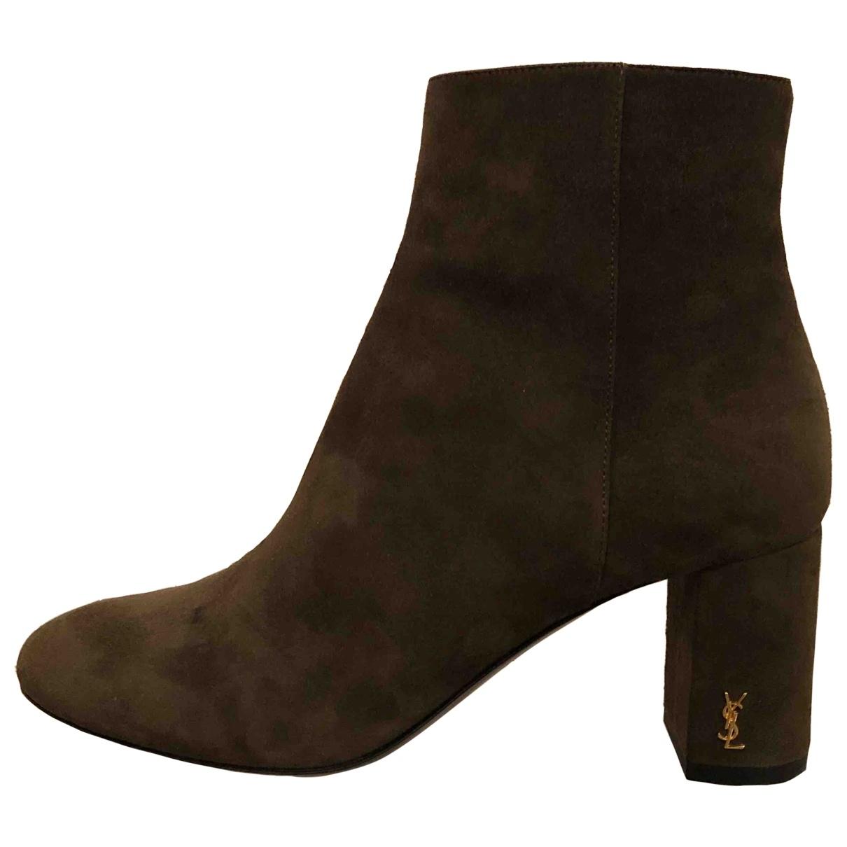 Saint Laurent Loulou Khaki Suede Ankle boots for Women 36 EU
