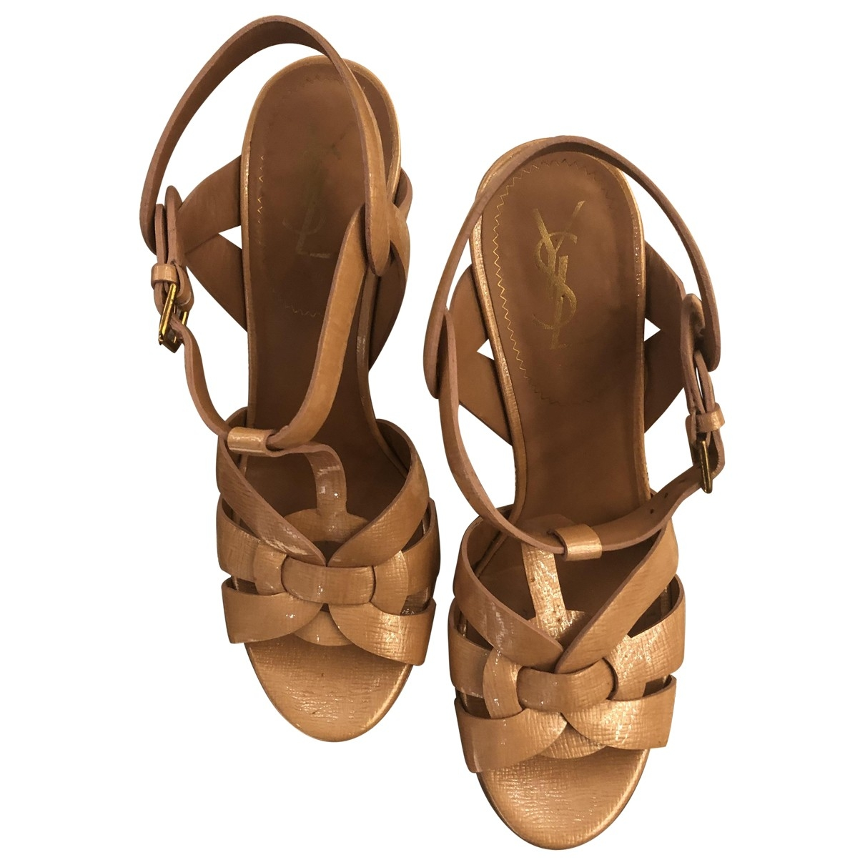 Yves Saint Laurent Tribute Pink Patent leather Sandals for Women 38.5 EU