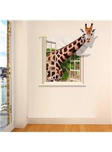 Giraffe Through Window Pattern 3D Waterproof Wall Sticker
