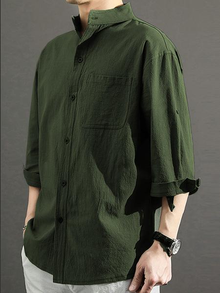 Yoins Men Autumn Casual Stand Collar Plain Single Pocket Shirt