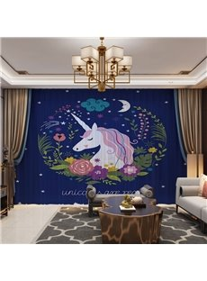 A Sleeping Unicorn in Harmonious Night 3D Printed Decorative 2 Panels Custom Sheer