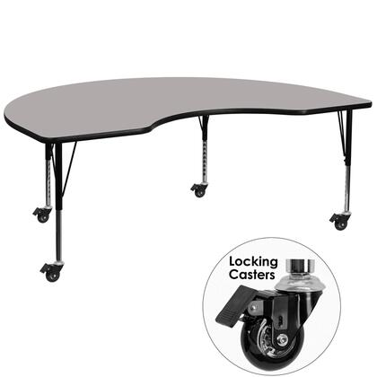 XU-A4896-KIDNY-GY-H-P-CAS-GG Mobile 48''W x 96''L Kidney Shaped Activity Table with 1.25'' Thick High Pressure Grey Laminate Top and Height