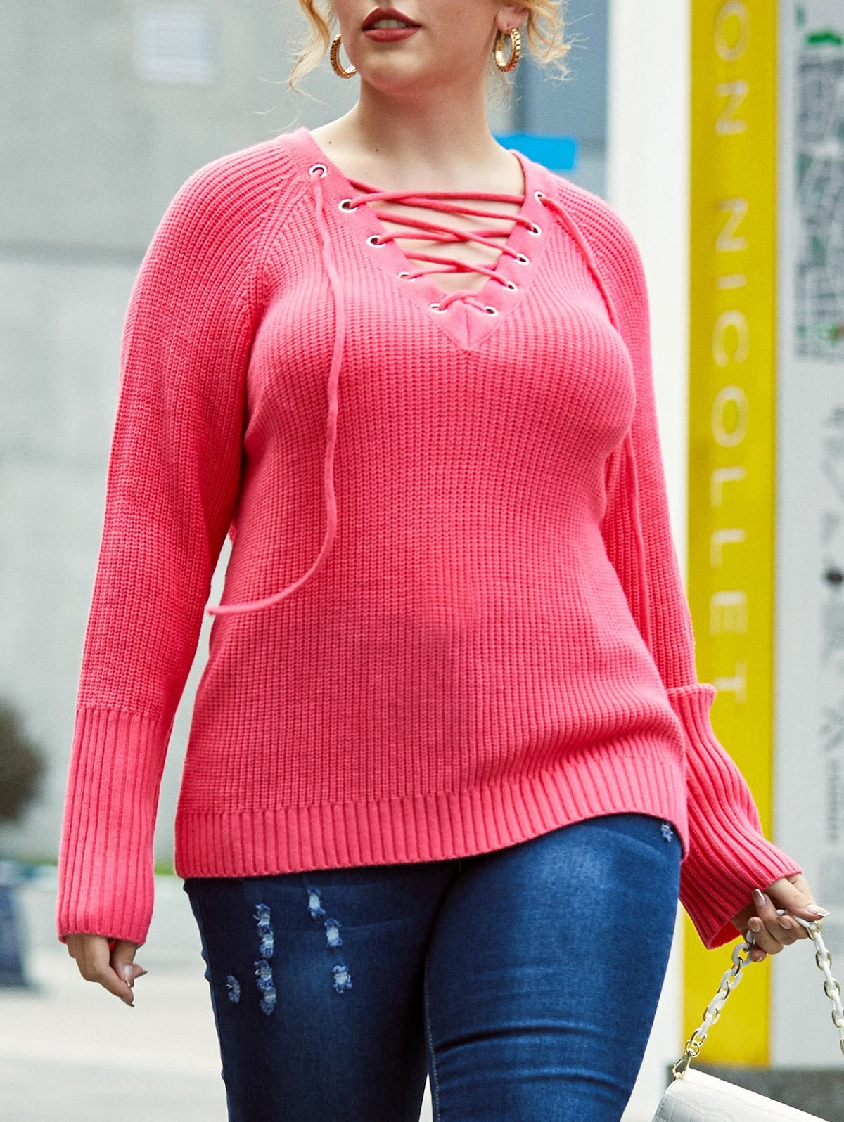 Plus Size Lace-up Raglan Sleeve Tunic Sweater